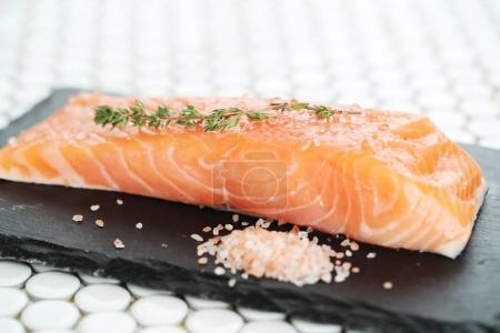 slice of fresh salmon