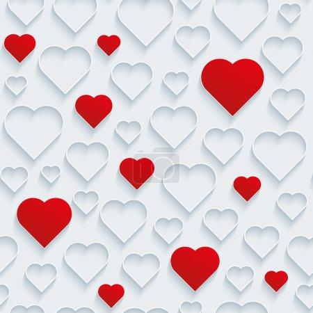 Illustration pour Saint-Valentin fond sans couture. Coeurs rouge et blanc contour . - image libre de droit
