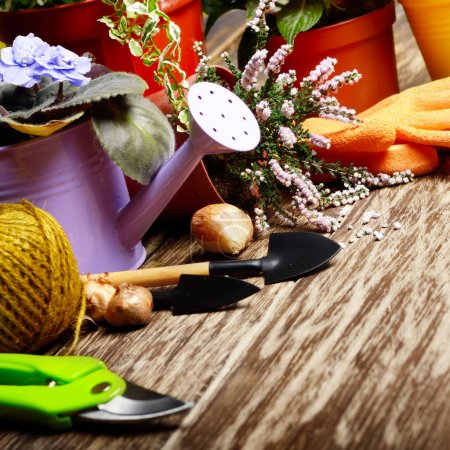 Gardening tools and violet watering can on wooden table