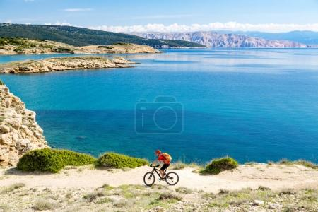 Photo for Mountain biker riding on bike in summer or autumn inspirational mountains landscape. Man cycling MTB on enduro trail track at seaside and rocky dirt path. Sport fitness motivation and inspiration. - Royalty Free Image