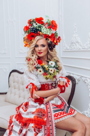 Ukrainian  woman in national clothes