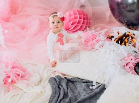Cute baby girl   at Birthday party.