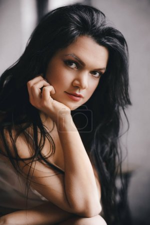 Photo for Portrait Beautiful Young Brunette Woman  with Makeup - Royalty Free Image