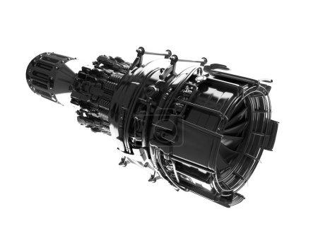 Jet engine turbine blades of plane, aircraft concept, aviation a