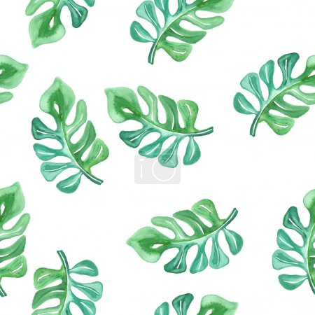 Illustration for Vector seamless watercolor tropical pattern - Royalty Free Image