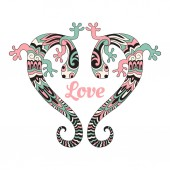 Vector Valentines card with love lizards two lizards in the form of a heart  Retro vintage style