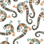 Vector seamless pattern with lizards   Retro vintage style