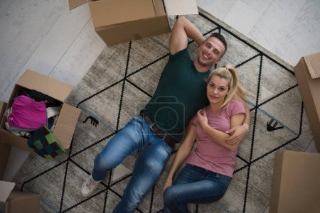 Top view of attractive young couple