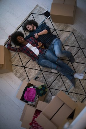 Top view of attractive young multiethnic couple