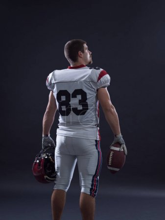 American Football Player isolated on gray