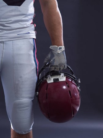 closeup American Football Player isolated on gray