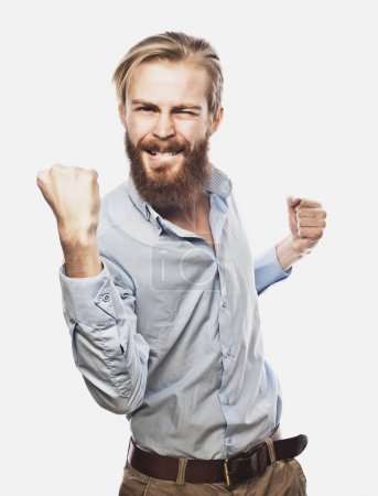 businessman celebrating his success over white  background