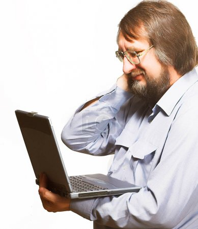 Man with laptop. Isolated on white.