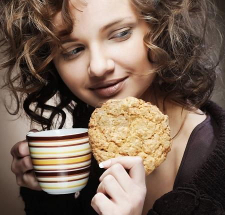 woman with coffee and cake