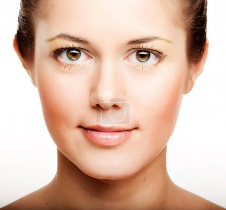 woman with health skin of face close up