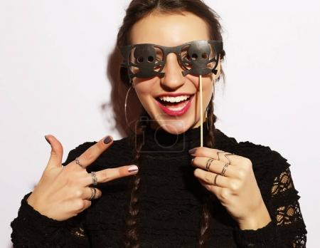 girl ready for party, over white  background, halloween concept
