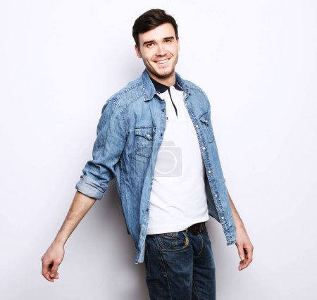 Photo for Lifestyle and people concept: handsome fashion man over white background - Royalty Free Image