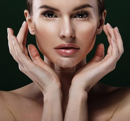 Beauty Woman face Portrait. Beautiful model Girl with Perfect Fr