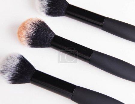 make up brush powder blushers on white background