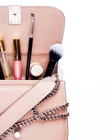 Women Fashion Bag and Accessories for Women make up And jewelry Beauty concept.