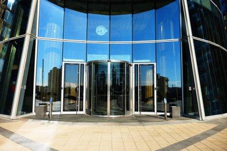 modern business center with big glass wnindows