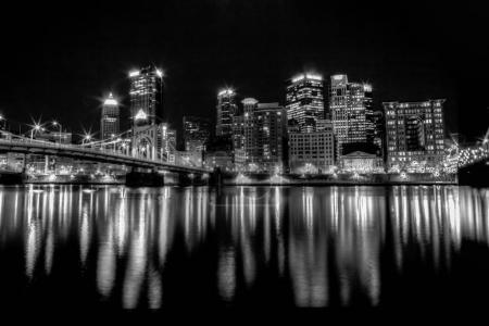 Pittsburgh Skyline at Night - Black and White