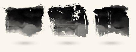 Foto de Conjunto de vector de splash manchas banners de textura. Ilustración de vector abstracto blanco y negro. - Imagen libre de derechos