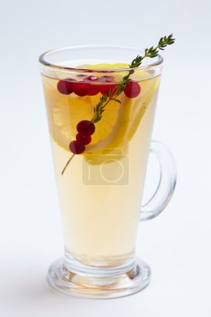 Tasty winter drink with fruits