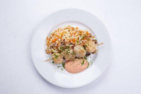 tasty chicken kebab with rice