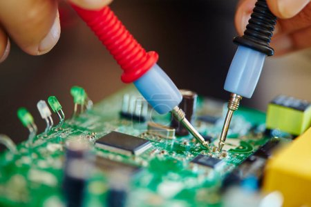 Photo for Man working in electronic laboratory,close up - Royalty Free Image