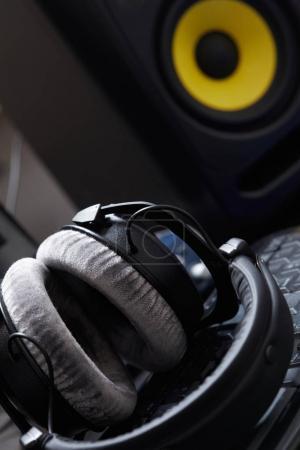 Modern headphones on the keyboard