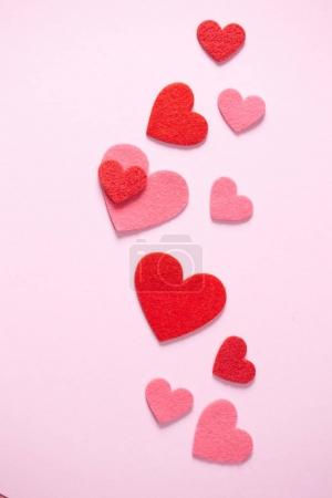 set of decorative red hearts