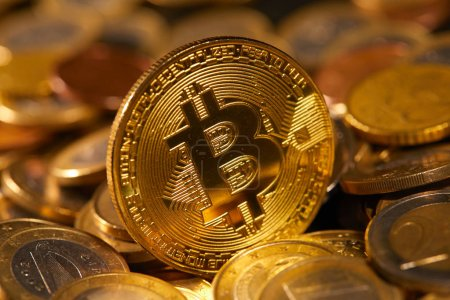 Photo for Pile of golden bitcoin, conceptual image for crypto currency - Royalty Free Image