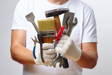 Photo pour Outils d'exploitation, gros plan des mains mâle - image libre de droit