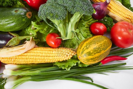 Photo for Fresh vegetables isolated on white background - Royalty Free Image
