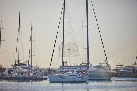 yachts parking in harbor at sunny day