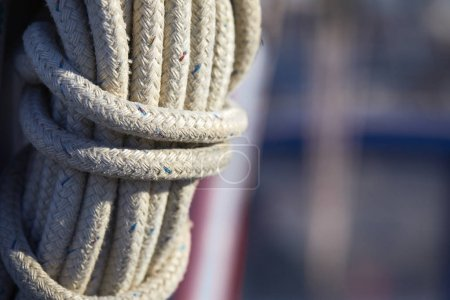 yacht rope fastened in knots, close-up