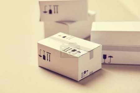 pile of delivery packaging boxes, close-up