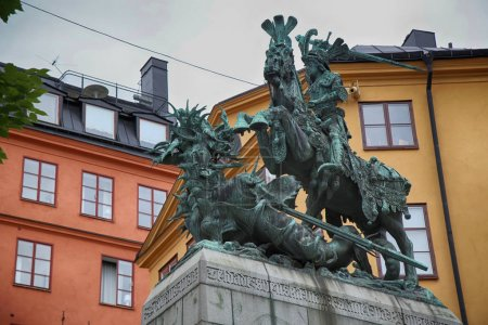 Statue of Sankt Goran & the Dragon in Stockholm, Sweden