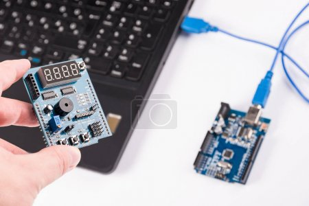 Photo for Computer programming microelectronics - electronics boards - Royalty Free Image
