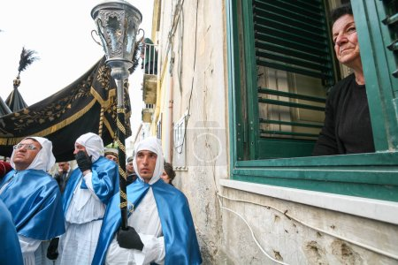 PROCIDA, ITALY - APRIL 11, 2009 - The Holy Friday Procession in Procida, Italy, offers its worthy close showing a beloved eighteenth-century wooden statue representing the nice and venerated Cristo Morto. Procida's Good Friday procession is the most