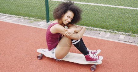Adorable young girl on skate