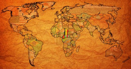 Photo pour Union monétaire d'Afrique centrale Cfa franc drapeaux de pays membres sur la carte du monde avec les frontières nationales - image libre de droit