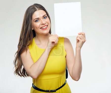 woman showing white big board