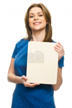 portrait of attractive woman holding blank billboard isolated on white background