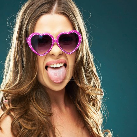 woman wearing sunglasses in form of hearts