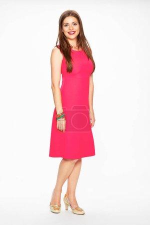 Photo pour Femme élégante en robe rose isolé fond blanc - image libre de droit
