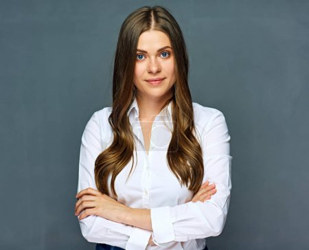 Business woman crossed arms portrait.