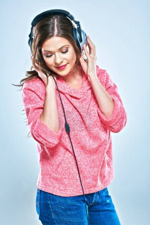 Young woman casual style  dressed portrait with headphones