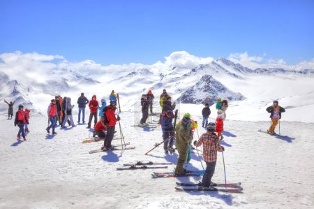 Elbrus. Skiers on the slope of mountain